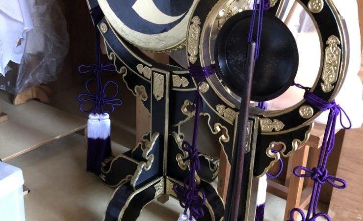 太鼓とすりがねの修理・塗り替え